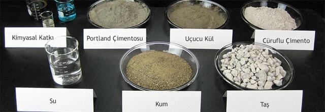 Özel bir beton üretimine ait numune dizilişi