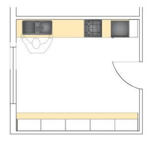 H tipi mutfak planı